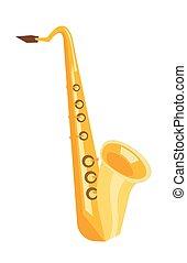 Saxophone vector cartoon illustration.