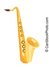 Saxophone vector cartoon illustration.