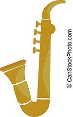 Saxophone, vector or color illustration.