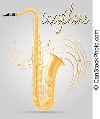 saxophone wind musical instruments stock vector illustration