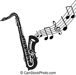saxophone with music coming out