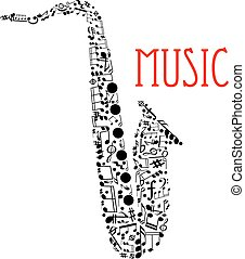 Saxophone with musical notes for music design