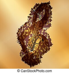 saxophone with treble clef over golden plane