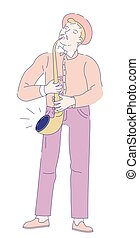 Saxophonist musician with saxophone jazz music vector illustration