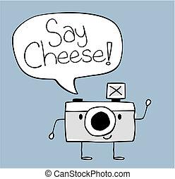 say cheese camera cartoon - cute funny camera with say...