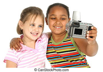 Two friends taking self portraits with digital camera.