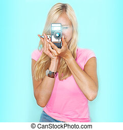 say cheese! vintage camera - beautifull woman holds vitage ...
