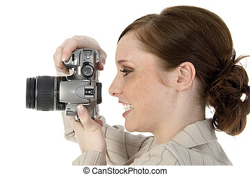 Say Cheese - Woman with digital slr camera.