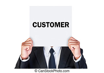 Say customer on paper