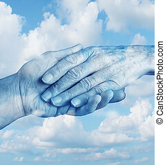 Say goodbye mourning and grief concept with the hand of a young person letting go an elderly senior who is in the final stages of life on a sky background as a symbol of heaven and emotional feelings related to terminal patients. sa