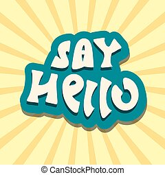 hello text handwritten retro vector