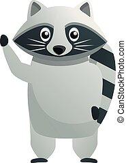 Say hi raccoon icon, cartoon style
