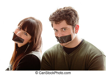 Say no more! - girl and guy having a piece of gaffer tape on...