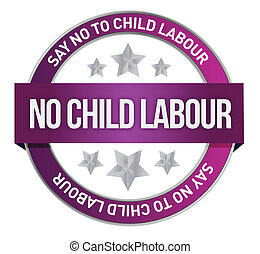 Say No To Child Labour seal illustration design
