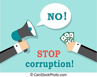 Say no to corruption and bribery - One hand holds the money,...