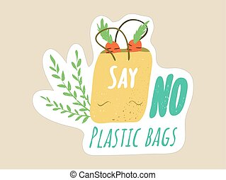 Say No to Plastic Bags grocery shopping concept. Image of a reusable and easy recyclable paper bag with groceries and a a message for ecological responsibility
