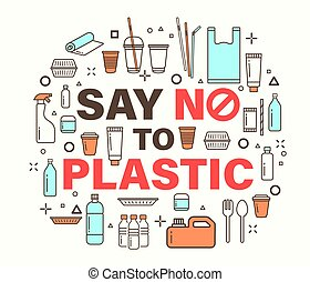 Say no to plastic illustration. Environmental problem concept. plastic package line icons style.