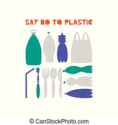 Say no to plastic vector illustrations set