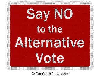 \'say, non, signe, photo, isolé, métallique, réaliste, réflecteur, vote\', alternative
