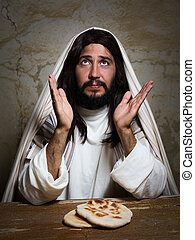 Saying grace during Last Supper