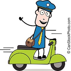 Saying Hello with Hand Gesture While Riding a Scooter - Retro Postman Cartoon Courier Guy Vector Illustration