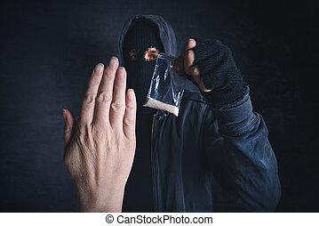 Saying No to drug dealer offering narcotic substance, fight...