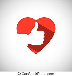 saying yes, liking others, love concept - simple vector icon