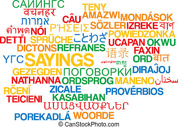 Sayings multilanguage wordcloud background concept