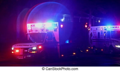 Sayreville NJ USA December 15 2019: Ambulance flashes its lights during a paramedics with night city