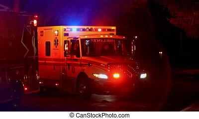 Sayreville NJ USA December 15 2019: Ambulance paramedics car parked on the side street at night