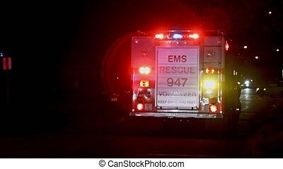 Sayreville NJ USA December 15 2019: Paramedics with ambulance goes on the night city