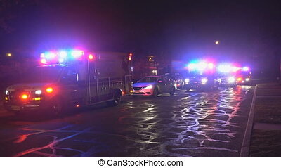 Sayreville NJ USA DECEMBER 23 2018 - Ambulance on Emergency, Accident on the roads, flashing lights, aid, health