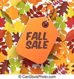 sazonal, 10, venda, ilustração, eps, outono, vetorial, label.