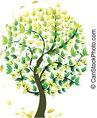 sazonal, abstratos, árvore