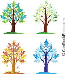sazonal, abstratos, jogo, árvores