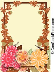 sazonal, amostra, cartaz, folhas, carvalho, venda, outono, flowers., modelo, design.
