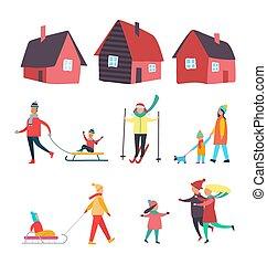 sazonal, atividades, ao ar livre, inverno, pessoas, vetorial