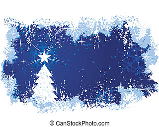 sazonal, azul, grande, grunge, inverno, elements., espaço, fundo, abstratos, themes., text., árvore, /, natal, neve, gelo, estrelas, seu