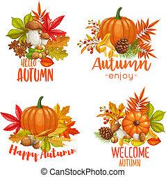 sazonal, bandeiras, olá, outono