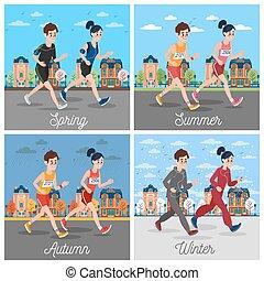 sazonal, cidade, mulher, town., runners., ilustração, executando, vetorial, através, running., maratona, homem