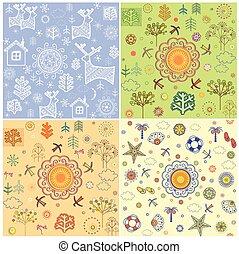 sazonal, decorativo, inverno, primavera, abstratos, variação, outono, desenho, wallpapers., verão