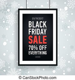 sazonal, desligado, inverno, snowflakes., cartaz, quadro, sexta-feira, venda, sale., tudo, experiência preta, 70%