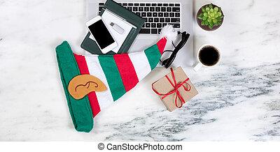 sazonal, feriado christmas, celebração, ligado, trabalhando, mármore, desktop, armando