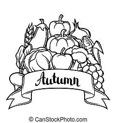 sazonal, festival, legumes, ilustração, outono, experiência., frutas, colheita