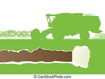 sazonal, harvester, l, campo, combinar, agrícola, grão, ...