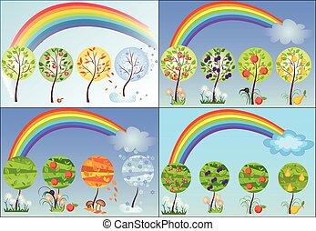 sazonal, jogo, árvore