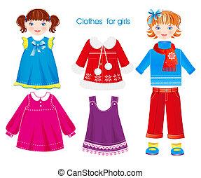 sazonal, jogo, meninas, roupas