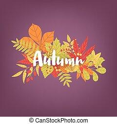 sazonal, lettering, ramos, outono, luminoso, grupo, calligraphic, experiência., escrito, foliage., deslumbrante, coloridos, mão, palavra, illustration., natural, colorido, folhas, árvore, contra, vetorial, caído