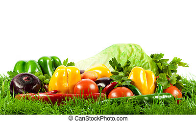 sazonal, orgânica, vegetables., saudável, eating., cru