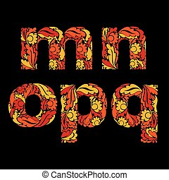 sazonal, ornamental, este prego, letras, m, folhas, p, vindima, pequeno, n, decorado, q., typescript., vermelho